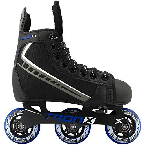 TronX Velocity Youth Adjustable Inline Hockey Skates, Black, Small 11-1 (Small 11-1)