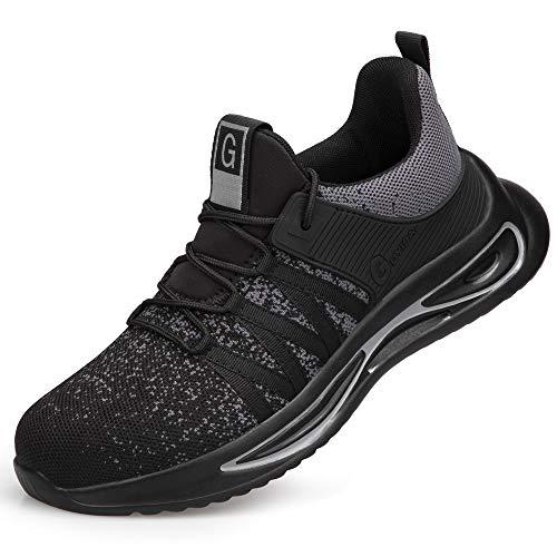 LANMOU Zapatos de Seguridad Hombre Vestir con Punta de Acero Casual Zapatillas Deportivas Transpirables Running Sneakers de Trabajo Al Aire Libre,Negro,40 EU