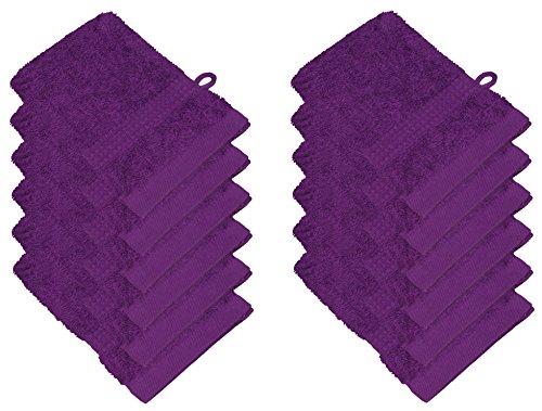 Star Labels 12 Pack Gant Lavage doux en 15 couleurs saugstark 500 g/m², 100% coton, Öko Tex Violet 15 x 21 cm