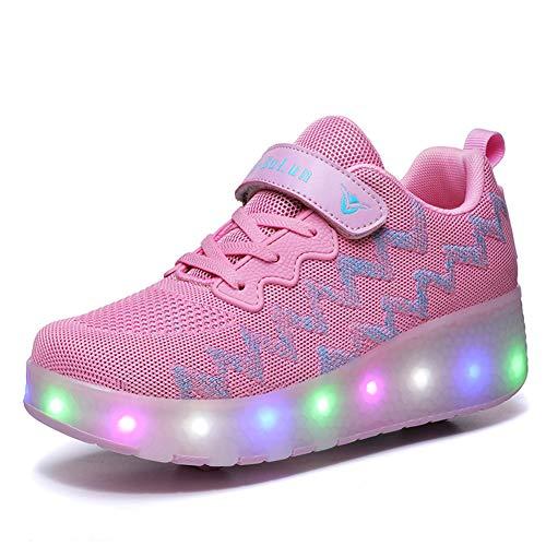 Unisex Kinder mit Rollen Skateboardschuhe LED Leuchtend Schuhe Sportschuhe Rollen Schuhe Skateboard Turnschuhe Outdoor Sports 7 Farbe Gymnastik Sneaker für Jungen Mädchen (32 EU, Pink 1688)