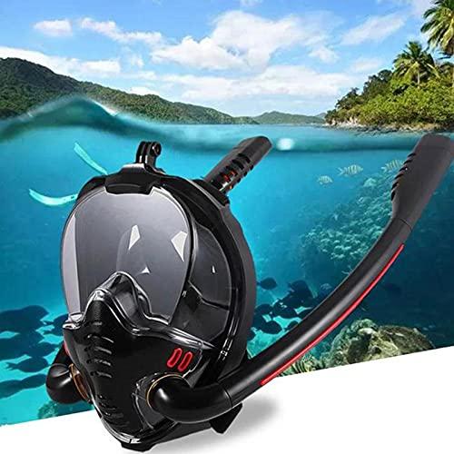 ALLWIN Equipo De Snorkel, Máscara De Snorkel Doble Equipo De Máscara De Buceo Equipo Antivaho De Cara Completa Gafas De Snorkel para Natación para Cámara Gopro Hombre Mujer,L/XL