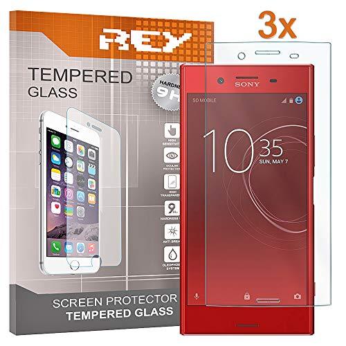 REY Pack 3X Panzerglas Schutzfolie für Sony Xperia XZ Premium, Bildschirmschutzfolie 9H+ Festigkeit, Anti-Kratzen, Anti-Öl, Anti-Bläschen