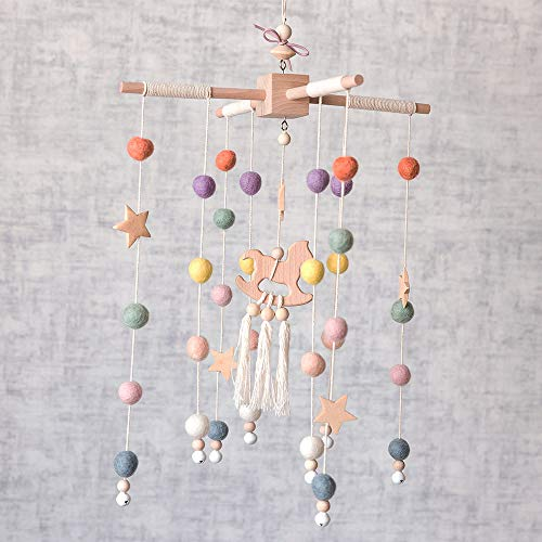 Baby Crib Mobile – 100% NZ Wool Colored Felt Ball Mobile for Your Boy or Girl Babies Bed Room – Designer Colors to Match Your Nursery and Delight Your Child