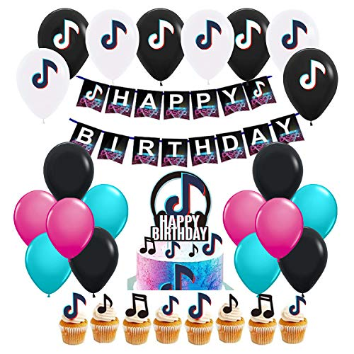 Tik-Tok Birthday Party Decorations Supplies, Party Decoration for Boys And Grils Icluded Ballons, Banner, Cake topper