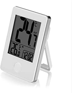 LTOOD Thermomètre numérique Précision à Distance sans Fil Intérieur LCD Extérieur Temps Affichage Horloge Table Stand Sensitive Réponse Simple Design