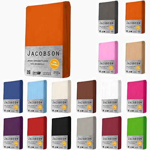 Jacobson Topper Jersey Spannbettlaken BOXSPRINGBETT Spannbetttuch 100% Baumwolle Bettlaken (180 x 200-200 x 200 cm, Rosa)
