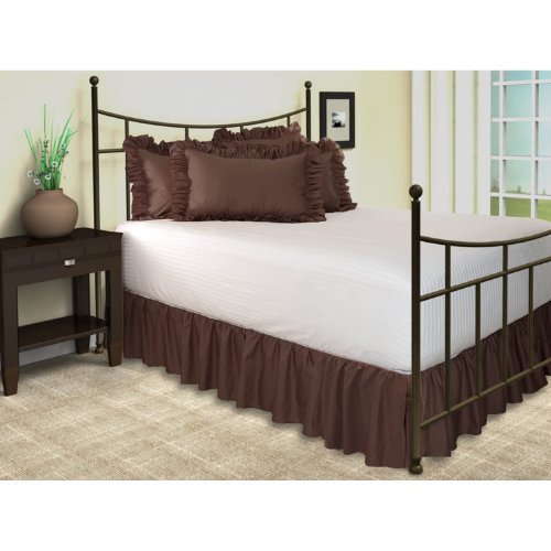 Ruffled Bed Skirt with Split Corners - King, Brown, 18 Inch Drop Bedskirt (Available in and 16 Colors) - Blissford Dust Ruffle.