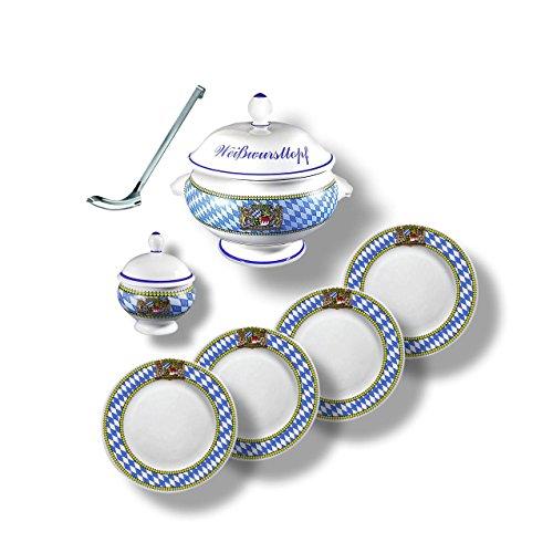 7-teiliges Bayerisches Weißwurst-Set mit Rautenrand bestehend aus Rösle Weißwurst-Heber, Weißwurst-Terrine BZW. Weißwurst-Topf 2,75l, Senf-Topf und 4 Weißwurst-Tellern 19cm
