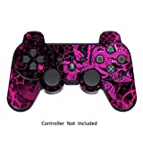 Skin Stickers for Playstation 3 Controller - Vinyl Leather Texture Sticker for DualShock 3 Wireless Game Controllers - Protectors Controller Decal - Pink Butterfly [ Controller Not Included ]