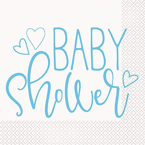 Papierservietten - 16,5 cm - Babyparty mit blauen Herzen - Packung mit 16 Stück