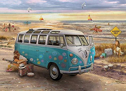 Mini Puzzles de 1000 Piezas en Miniatura DIYpara Adultos Playa del Bus de cartón Resistente Desafío de Ejercicio Cerebral Juego de Alta dificultad Regalo para Niño 38 * 26cm