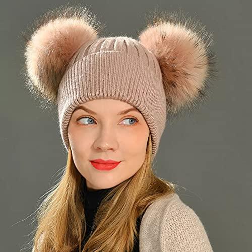 Dingyi Sombrero de pompón de Moda de Invierno para Mujer para niñas, Gorros de Ganchillo para Adultos, Gorro de Punto con Dos Pompones