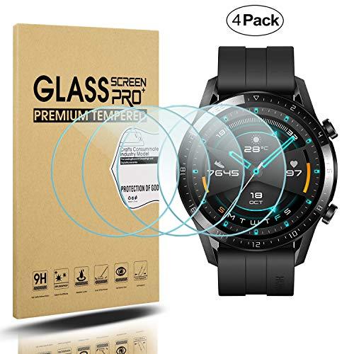 Diruite 4-Pack für Huawei Watch GT 2 (46mm Version) Panzerglas Schutzfolie, HD Glas Bildschirmschutzfolie für Huawei Watch GT 2 (46mm Version) Intelligente Uhr [Anti-Kratzen] [Anti-Öl]