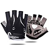 Men's Cycling Gloves Half Finger Cycling MTB Mountain Bike Road Bike Gloves-Anti-Slip Shock Absorbing Gel Pad Breathable Motorcycle Outdoor Sports Short Fitness Running Gloves Unisex (Black, X-Large)