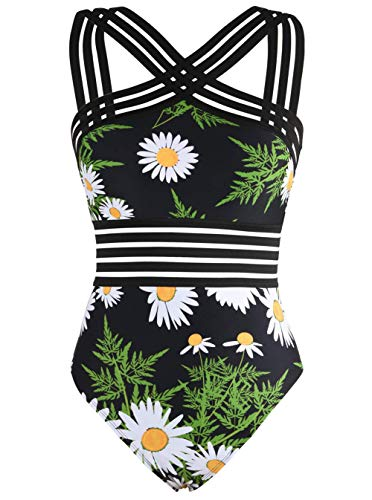Hilor Women's One Piece Swimwear Front Crossover Swimsuits Hollow Bathing Suits Monokinis White Chrysanthemum XXL/US16
