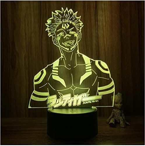 Luz nocturna 3D Anime Jujutsu Kaisen Ryomen Sukuna cuerpo malvado 7 colores táctil ilusión óptica lámpara de mesa regalo decoración de habitación Lig