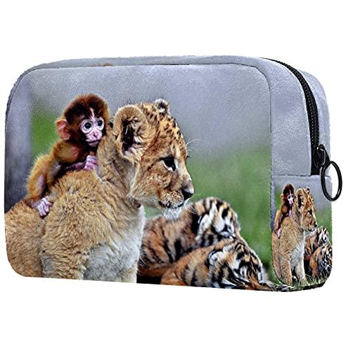 Estuche de Maquillaje para Monedero Oxford Cloth Travel Cosmetic Pouch Lion Monkey Tiger Neceser para Mujeres Niñas Regalos Organizador de Almacenamiento Diario portátil 7.3x3x5.1 Pulgadas