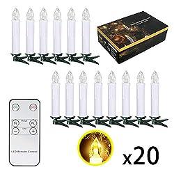 SunJas 20er Weihnachten LED Kerzen Lichterkette Kerzen Weihnachtskerzen Weihnachtsbaum Kerzen mit Fernbedienung Kabellos