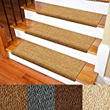 """Carpet Stair Treads – Non-Slip Bullnose Carpet for Stairs – Indoor Stair Pads – Self-Adhesive & Easy Installation – Pet & Child Friendly – Skid Resistant & Washable – 14- Pack Brown 10' x 30'x 1.3"""""""