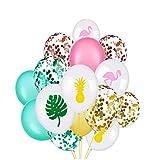 Yeahibaby 45 Piezas de 12 'Globos de Confeti Hawaiano | Flamenco de Hoja Tropical de piña, Decoraciones para Fiestas