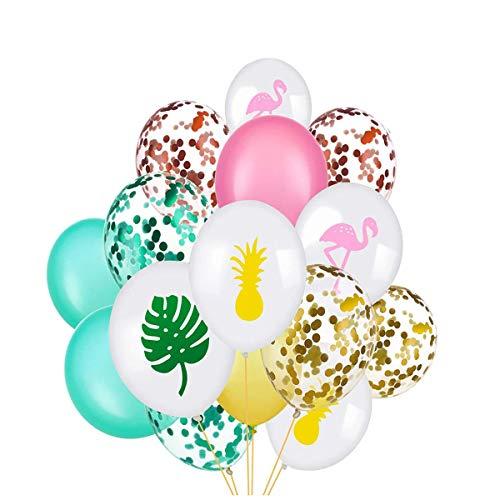 Toyvian 45Pcs 30cm Hawaii Party Konfetti Luftballons Set | Flamingo Tropische Blatt Ananas