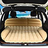 Goplus SUV Air Mattress for Back Seat, Inflatable Car Air Bed with Electric Air Pump Flocking Surface, Portable Car Mattress for Camping Travel, Thickened Home Sleeping Pad Fast Inflation (Yellow)