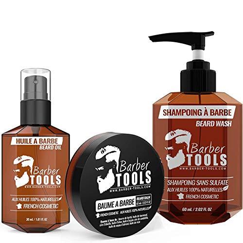 ✮ BARBER TOOLS ✮ Kit de barba cosmética - Oil para barba 30ml + Bálsamo para barba - 30ml + Champú para barba 60ml | Para el mantenimiento y cuidado de la barba - MADE IN FRANCE
