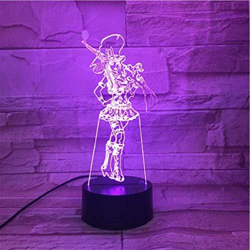 Lámpara de ilusión 3D Luz de noche LED League of Legends LOL Heroes Sensor táctil 7 Cambio de color Piltover Sheriff Caitlyn Lámpara de mesa Dormitorio