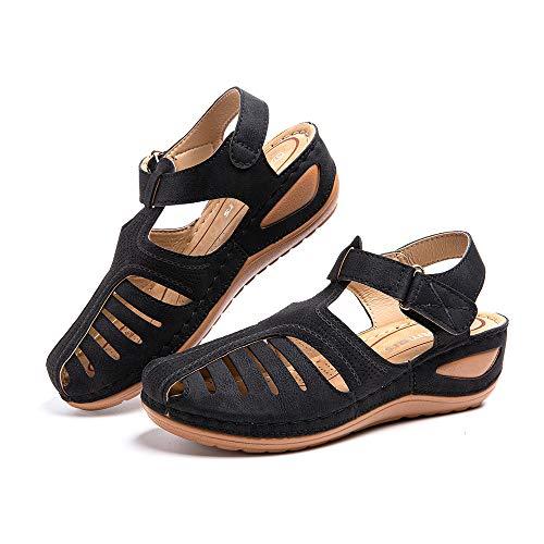 Sandalias Mujer Cuña Comodas Mules Planas Sandalia Cerrada con Pulsera Tacon Casual Zapatos de Playa Retro 1 Negras 40 EU