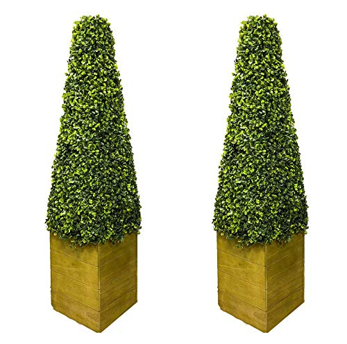 OTZ Twin Artificial Cone Pyramid Trees with Heavy 7.5KG Wooden base pyramid Tree Cone tree Indoor outdoor trees 2 Size 3FT 4FT