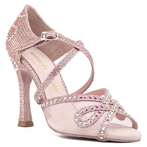 Manuel Reina - Zapatos de Baile Latino Mujer Salsa Flex 11 Rose Pearl - Bailar Bachata, Salsa, Kizomba (41 EU, Tacón: 5.5)