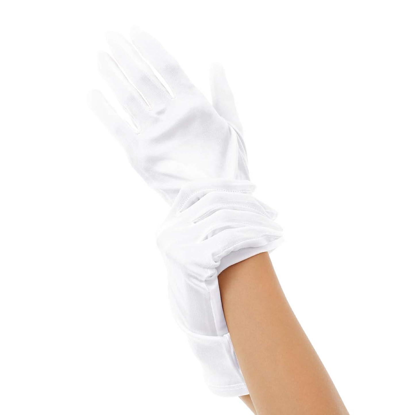葬儀ホーム畝間Silk 100% ハンドケア シルク 手袋 手首ゆるゆる おやすみ スキンケア グローブ 薄手のスムース素材 外出時の UV対策 や インナーグローブ にも最適 うるおい 保湿 ひび あかぎれ 保護 (L, ホワイト)