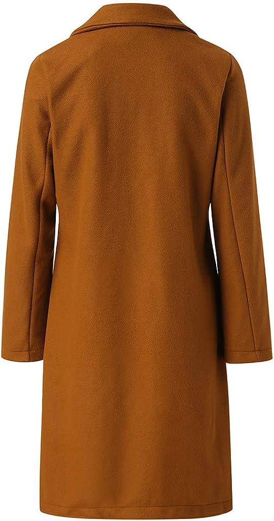 Lulupi Damen Lange Mantel Jacke Trenchcoat Herbst Winter Elegante Übergangsjacke Faux Wollmantel Revers Parka Coat Outwear Long Blazer Cardigan mit Taschen Khaki
