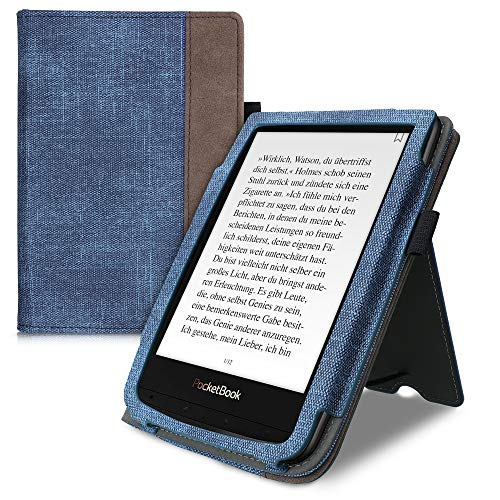 kwmobile Flip Hülle kompatibel mit Pocketbook Touch Lux 4/Lux 5/Touch HD 3/Color (2020) - Handschlaufe - Cover Jeansblau Dunkelbraun
