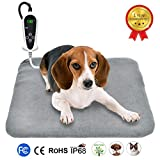 RIOGOO Pet Heating Pad, Upgraded Electric Dog Cat Heating Pad Indoor Waterproof, Auto Power Off 18' x 18' Grey