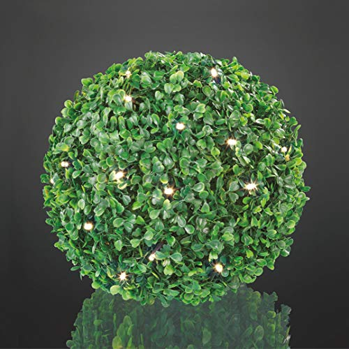 Hellum 350227 LED Buchsbaum-Kugel Ø 25 cm 30 LEDs warmweiß Outdoor Zuleitung 5 m grün Außen-Transformator