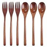 TsunNee Juego de 6 tenedores de cuchara de madera natural, mango...