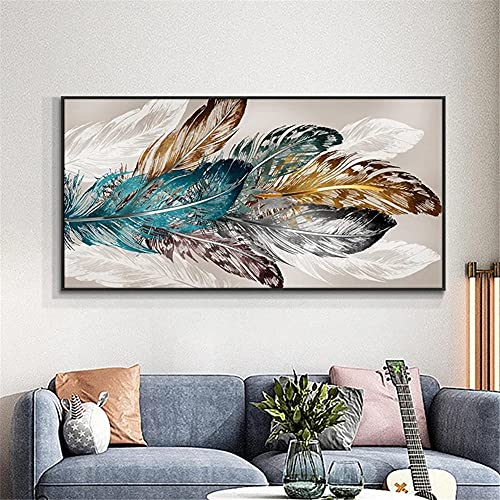 5D Diamond Painting Kits Full Drill Feather DIY Diamond Painting by Number Kit Adults Kids Rhinestone Embroidery Cross Stitch Diamond Art Crafts for Home Wall Decor Gift -Square_Drill_50x100cm