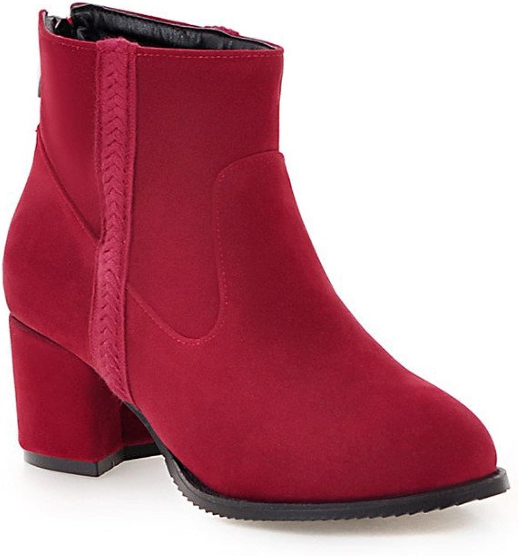 Lucksender Womens Back Zip Pointed Toe Mid Heel Short Boots