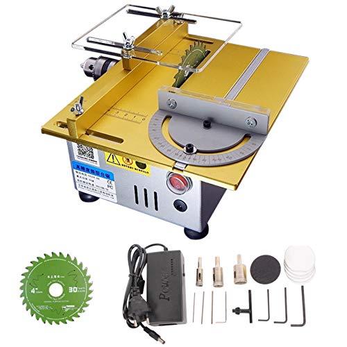 SIRUL Mini Sega da Tavolo, con Mitra, Motore 775, Alimentatore da 96 W tornio utensile da Taglio Desktop Multifunzionale per la Lavorazione del Legno Fai da Te