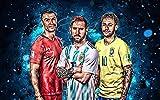 Ronaldo Messi Neymar Poster Fußball-Stern-Leinwand-Druck