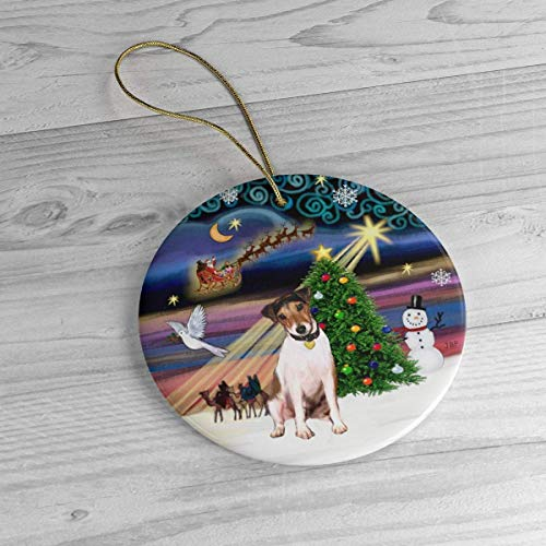 Lplpol Personalized Jack Russell Terrier in Christmas Magic Heirloom Ornament Ceramic Porcelain Xmas Tree Hanging Keepsake Pedemant, Ideals, BST1624