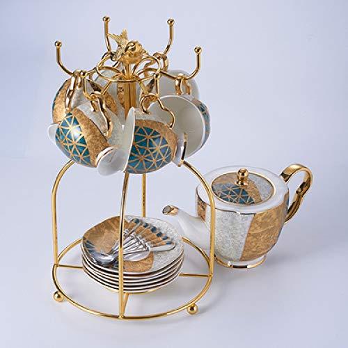 Tasse Hotel Cafe Mug Ins Europäische Kleine Luxus-Kaffeetasse Anzug Elegante Leichte Luxus-Haushalt Britisches Nachmittagstee-Set Kaffee-Set 1 Kanne 6 Tasse 6 Scheibe 6 Löffel +1