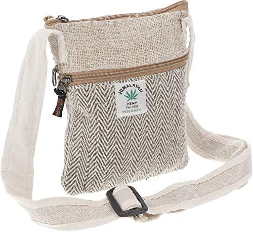 GURU SHOP Hanf Schultertasche, Hippie Tasche, Nepal Tasche - Natur/oliv, Herren/Damen, Weiß, Baumwolle, Size:One Size, 20x17x4 cm, Alternative Umhängetasche, Handtasche aus Stoff