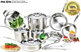 mockins 15 Piece Premium Grade Stainless Steel Cookware Set | The 15 Piece Pots and Pans Set and...