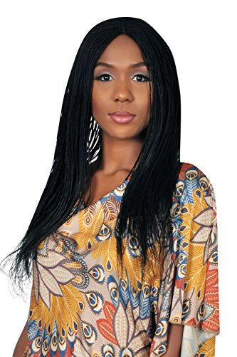 WOW BRAIDS Braided Wigs, Micro Million Braid Wig - Color 1 - 18 Inches. Synthetic Hand Braided Wigs for Black Women.