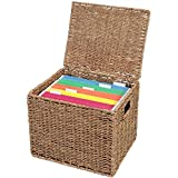 Collapsible File Storage Organizer, Letter Size Hanging File Box Organizers with Lid,Decorative Seagrass Filing & Storage Office Box | Letter Size (Natural)