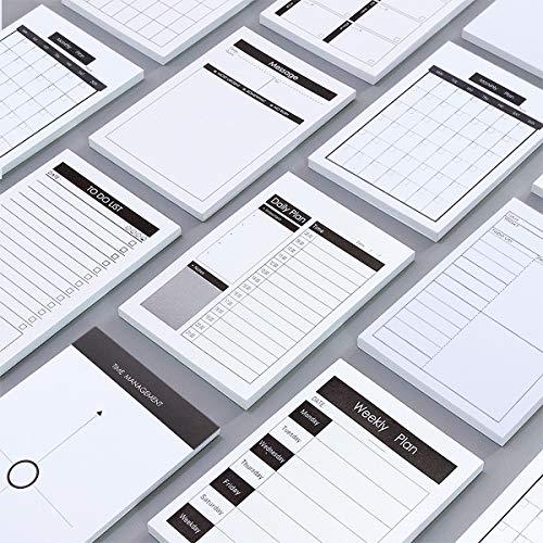 ANPHSIN 付箋 メモ-7種セット 粘着性なし スケジュール プランナーシリーズ プラン 毎日 週間 月間スケジュール 日程 TODOリスト メッセージ 時間管理 マトリックス メモ帳 ノート 手帳 罫線 白色 伝言 書きやすい 携帯性 実用 シンプ