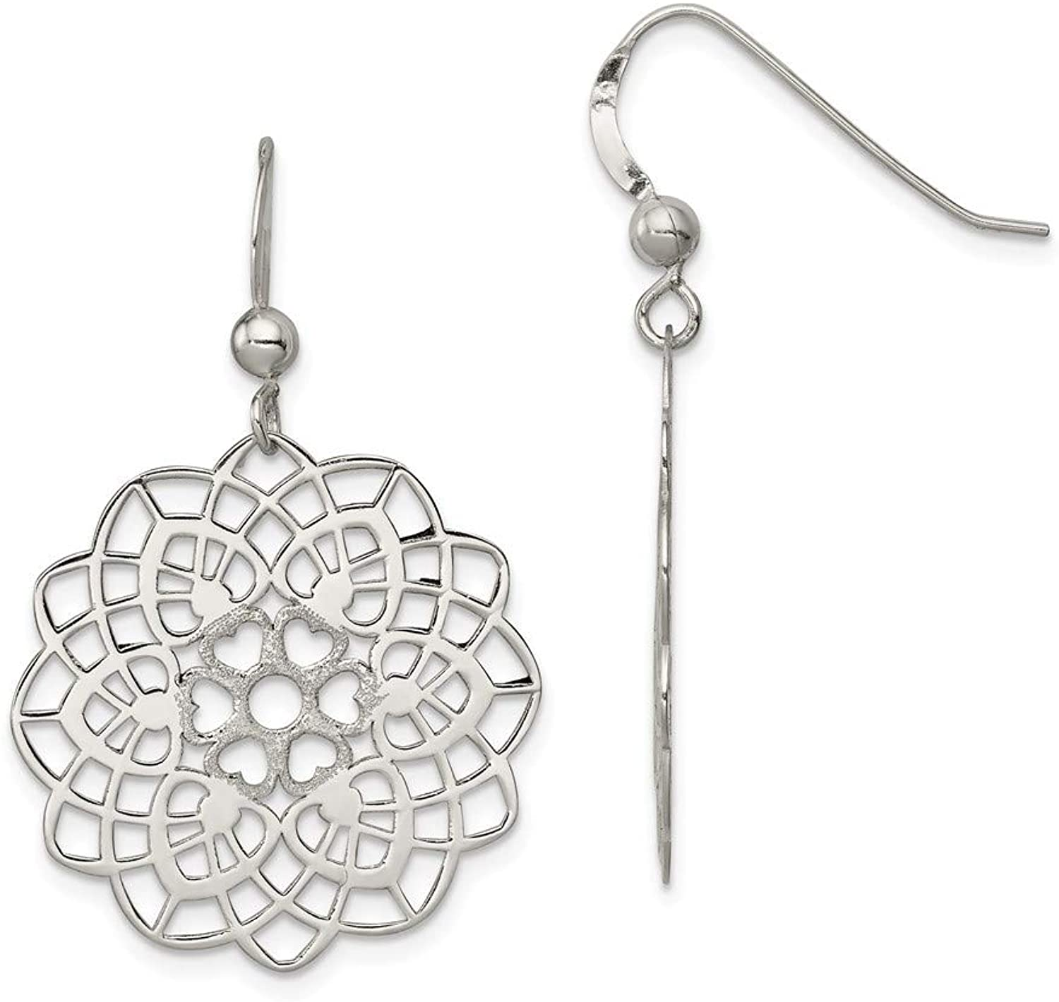 Beautiful Sterling silver 925 sterling Sterling Silver Polished and Textured Flower Dangle Earrings