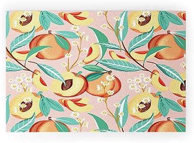 "Society6 83 Oranges Peach Season Welcome Mat, 36"" x 24"", Pink"